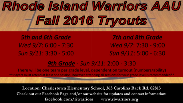 RI Warriors fall 2016 Tryout Flier (1)