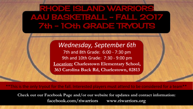 RI Warriors Fall 2017 Tryout Flier