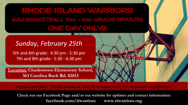 RI Warriors 5th-8th Spring 2018 Tryout Flier