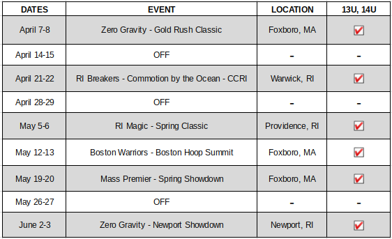 13U-14U Schedule