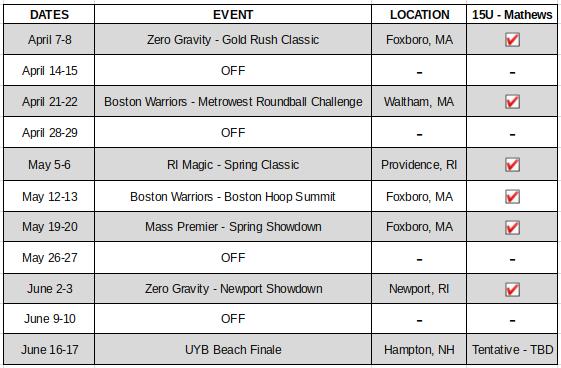 15U - Mathews Schedule
