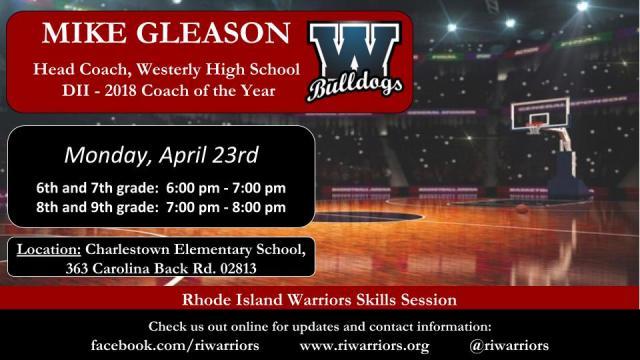 Gleason Skills Session RI Warriors 6th-9th Spring 2018 Flier